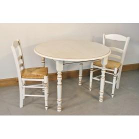 Table GEVROLLES DIAM 105cm + 4 Chaises (CHOCOLAT)