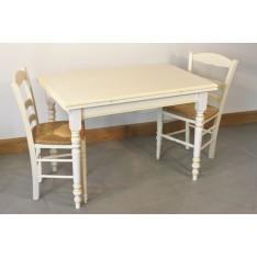 Table LANTENAY 110X70 + 4 Chaises (VANILLE)
