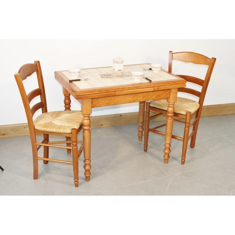 Ensemble table cuisine bois rustique 4 chaises paill es for Table cuisine 90 x 60