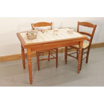 Ensemble Table Cuisine Bois Rustique 4 Chaises Paillées Assorties