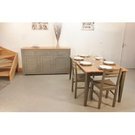 Buffet bas 3P3T +Table Rectangulaire bicolor 160x80 + 4 Chaises (SYCOME)