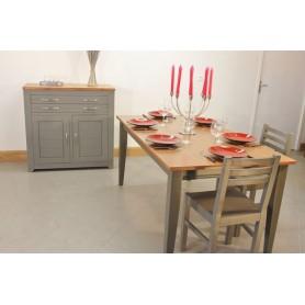 Meuble bas 2P2T +Table Rectangulaire bicolor 160x80 + 4 Chaises (SYCOME)