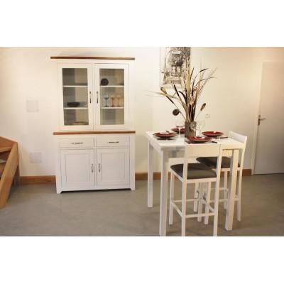 Vitrine +Table Haute 90x90 + 4 Tabourets Hauts (ALTHEA)