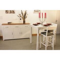 Buffet bas 3P3T +Table Haute 90x90 + 4 Tabourets Hauts (ALTHEA)