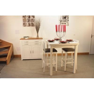 Meuble bas 2P2T +Table Haute 90x90 + 4 Tabourets Hauts (ALTHEA)
