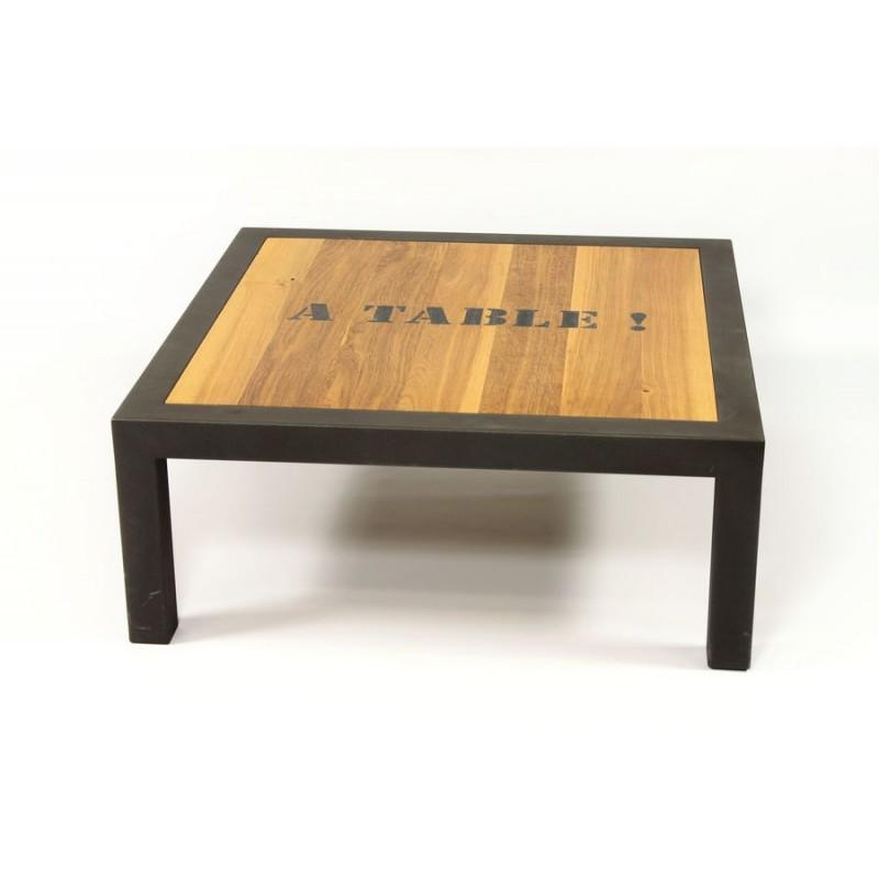 Table Basse Salon Acier Thermolaqu Gris Plateau Ch Ne De