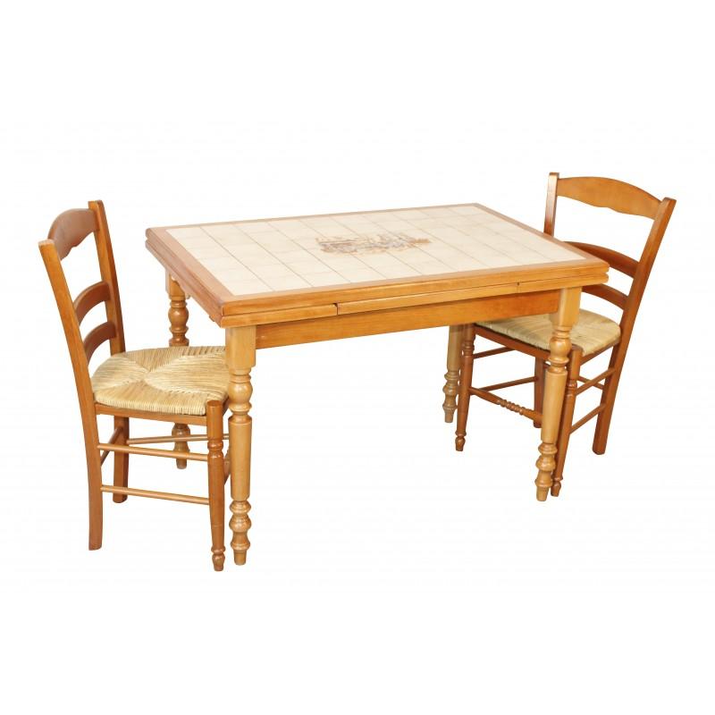Ensemble table cuisine bois rustique 4 chaises paill es for Table cuisine 70 x 110