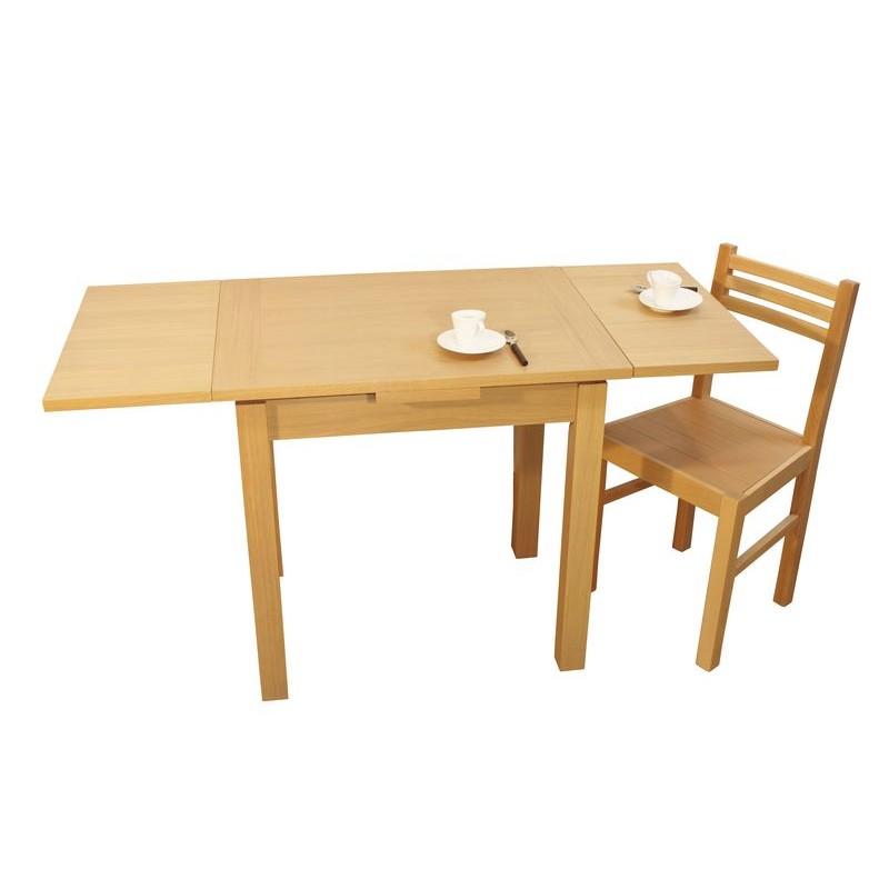 Table contemporaine de cuisine en ch ne massif nature avec for Table cuisine 80 x 60