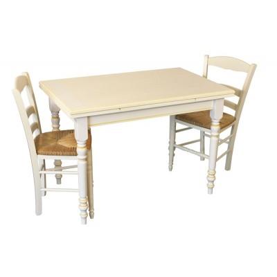 Table Tradition De Cuisine Rectangulaire Vanille Jaune Pieds Tournés
