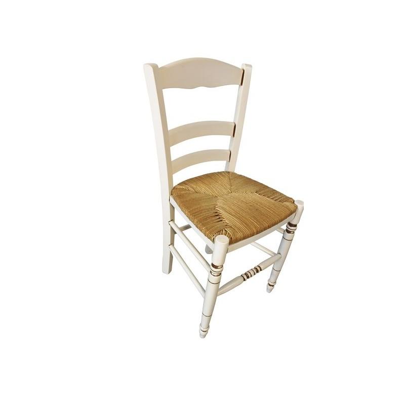 chaise de cuisine bois contemporaine blanche rechampi marron paillage. Black Bedroom Furniture Sets. Home Design Ideas