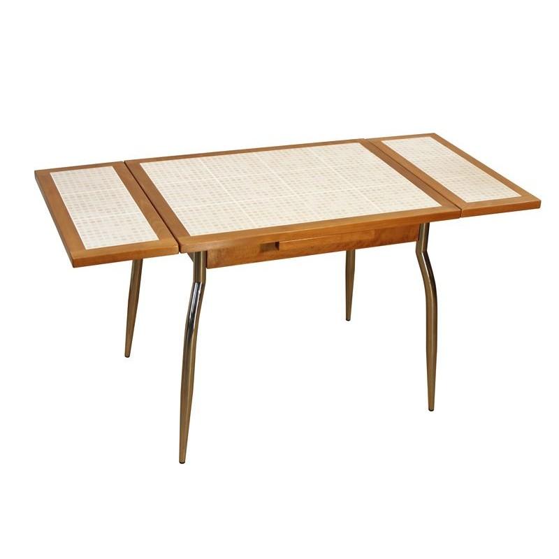 Table contemporaine de cuisine en bois avec c ramique avec for Table de cuisine 90 x 90