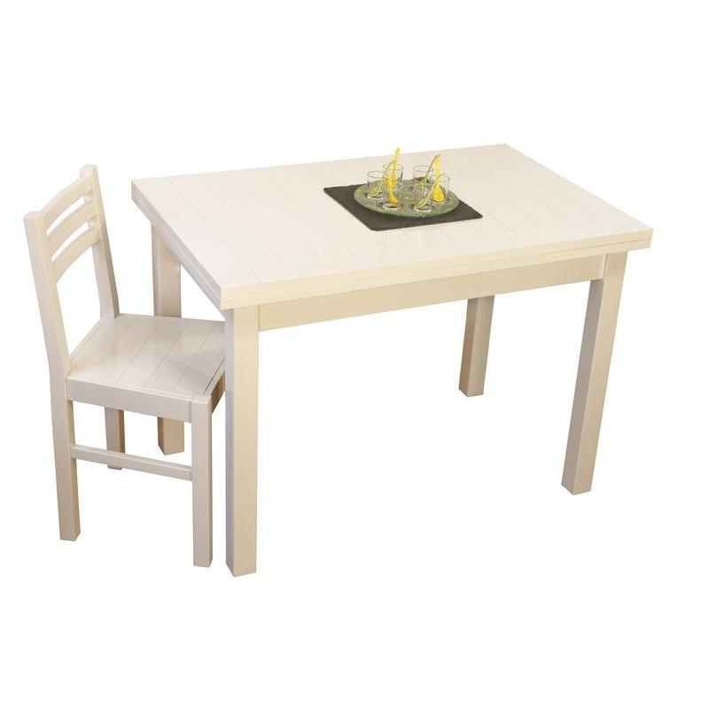 table moderne de cuisine rectangulaire blanche en bois avec allonges. Black Bedroom Furniture Sets. Home Design Ideas