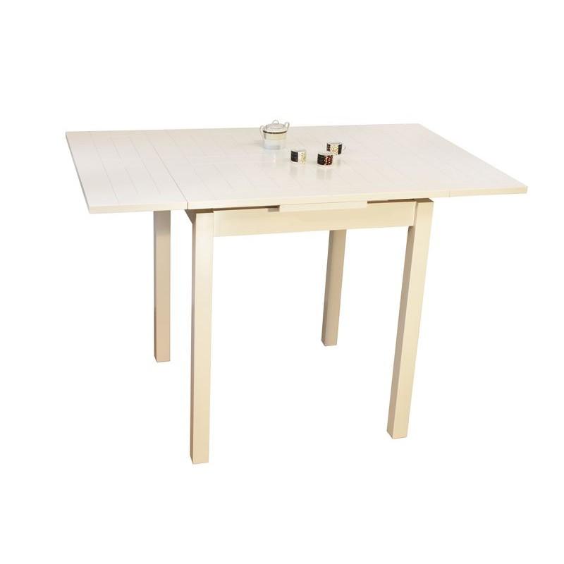 Table moderne de cuisine carr e haute blanche en bois avec for Table de cuisine 90 x 90