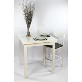 """Ensemble """"ALTHEA"""" : Table Carrée haute90x90 + 2 tabourets"""