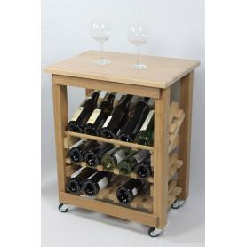 """CASIER A VIN / DESSERTE EN CHENE MASSIF - Modèle """"Présentation""""-15 bouteilles-"""