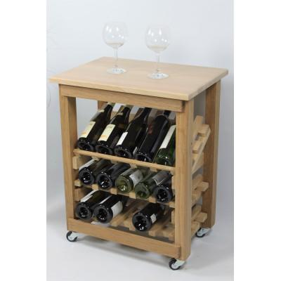 """CASIER A VIN EN CHENE MASSIF - DESSERTE -Modèle """"Présentation""""-15 bouteilles-"""