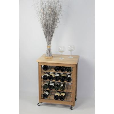 """CASIER A VIN EN CHENE MASSIF - DESSERTE -Modèle """"Dégustation""""-20 bouteilles-"""