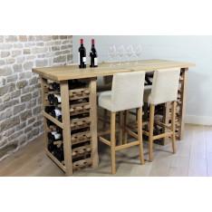 TABLE DE DEGUSTATION EN CHENE MASSIF -60 bouteilles-