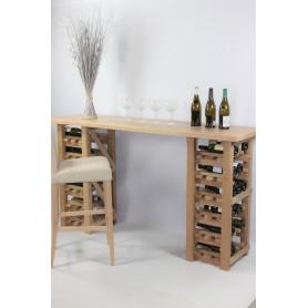 TABLE DE DEGUSTATION EN CHENE MASSIF -36 bouteilles-