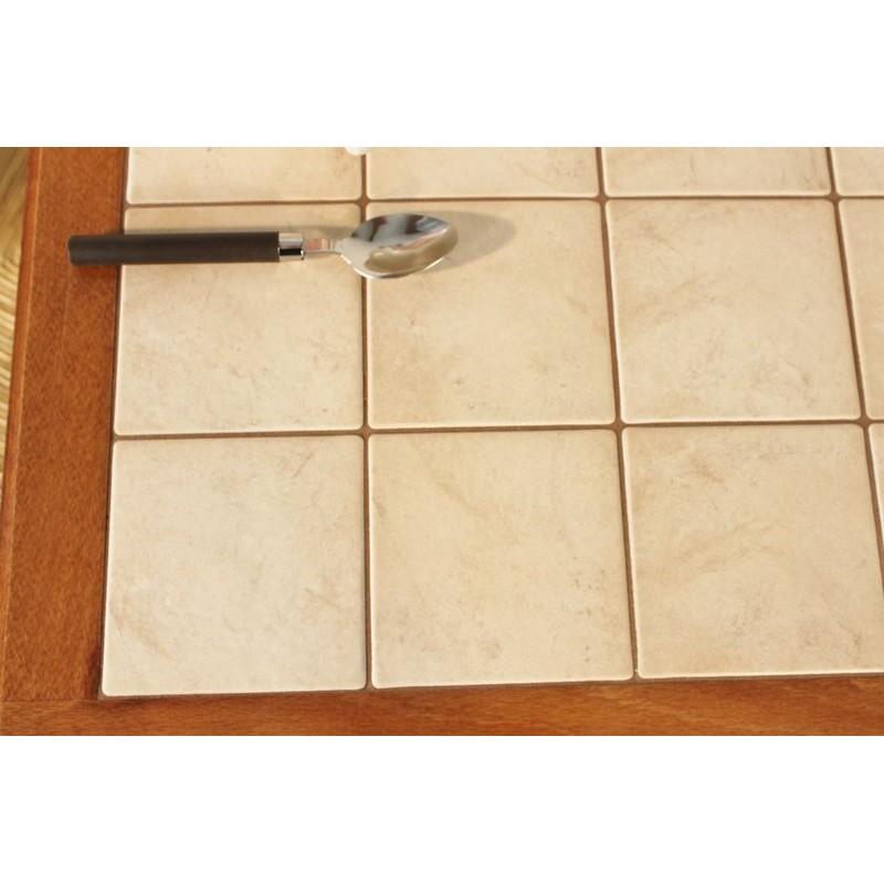 Table rustique de cuisine pieds tourn s carrel e avec for Table cuisine 60 x 80
