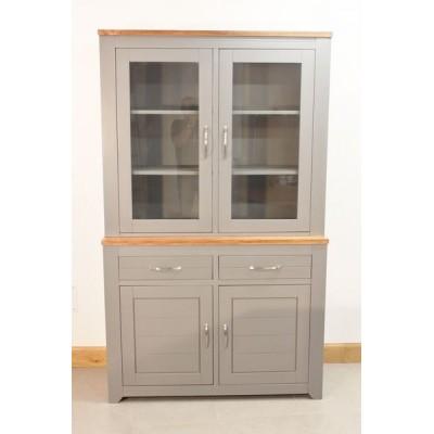 Meuble vitrine haut en bois gris 2 tiroirs 4 portes