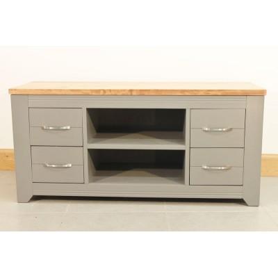 meuble de t l bas en bois gris 4 tiroirs. Black Bedroom Furniture Sets. Home Design Ideas