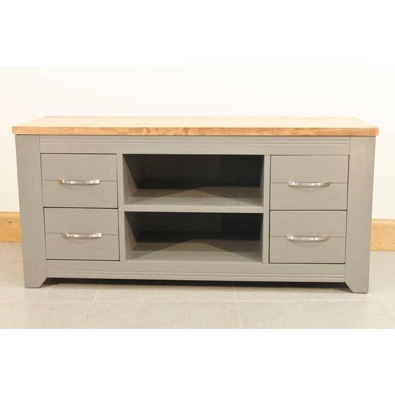 Meuble de t l bas en bois gris 4 tiroirs for Meuble bas tele