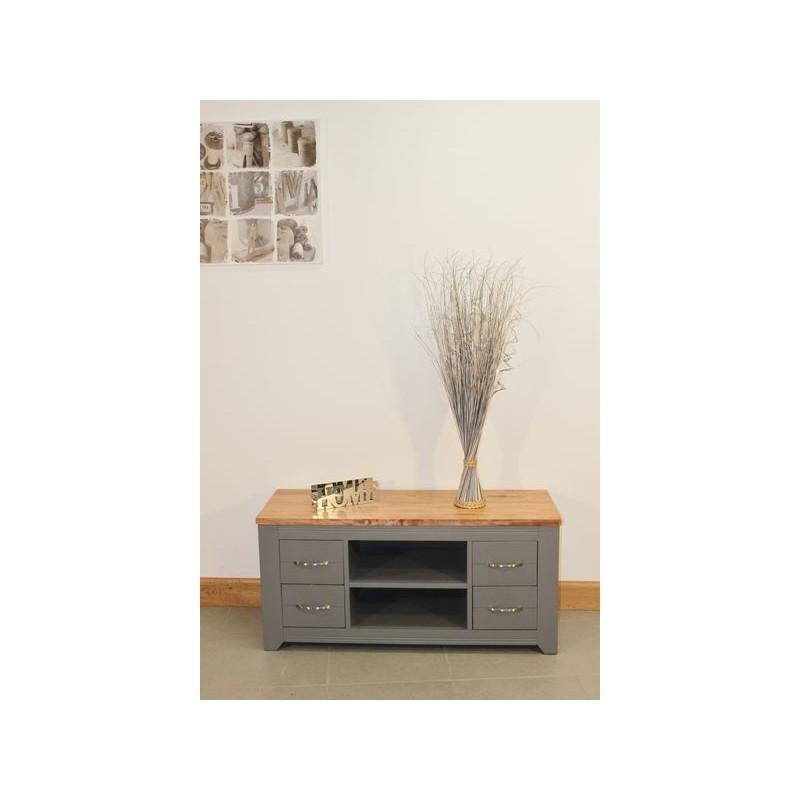 Meuble de t l bas en bois gris 4 tiroirs for Meuble tele bas