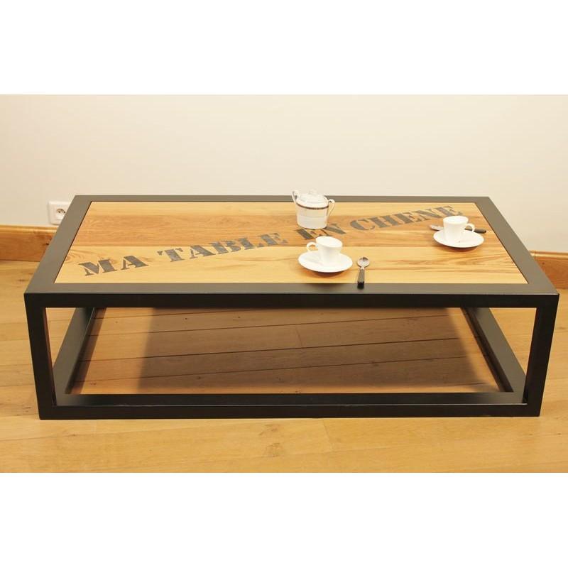 Table basse salon acier thermolaqu noir plateau ch ne de - Tables basses noires ...