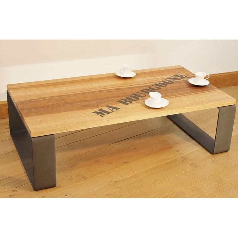 table basse salon acier thermolaqu gris plateau ch ne de bourgogne. Black Bedroom Furniture Sets. Home Design Ideas