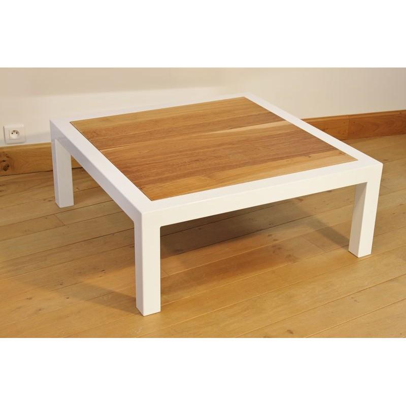 Table Basse Salon Acier Thermolaqu Blanc Plateau Ch Ne De