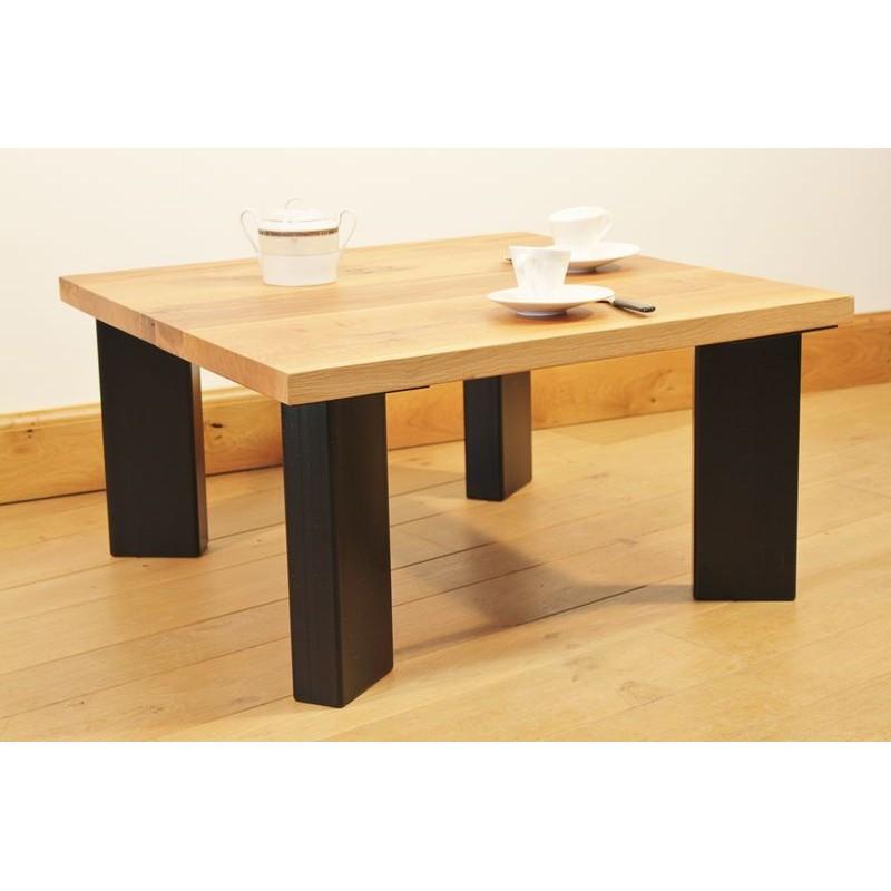 Table basse salon acier thermolaqu gris plateau ch ne de - Tables basses noires ...