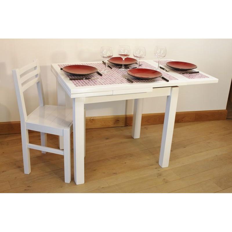 ensemble table cuisine carrel e mosa que 4 chaises laqu es blanche. Black Bedroom Furniture Sets. Home Design Ideas