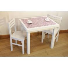 """Table AZALEE BLANCHE """"Mosaïque"""" P Bois + 4 Chaises (ALTHEA)"""