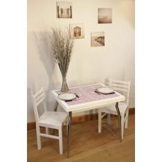 """Table AMARYLLIS BLANCHE """"Mosaïque""""  P Métal + 4 Chaises (ALTHEA)"""