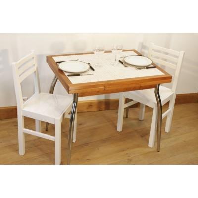"""Ensemble """"AMARYLLIS NATURE"""" : Table carrelée 90x70 + 4 chaises"""