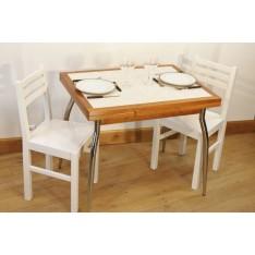 """Table AMARYLLIS NATURE """"Mosaïque"""" P Métal + 4 Chaises (ALTHEA)"""