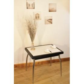 """Table AMARYLLIS NOIRE """"Mosaïque""""  P Métal + 4 Chaises (ALTHEA)"""