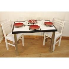 """Table HIBISCUS BLANCHE """"Mosaïque""""  P Métal + 4 Chaises (ALTHEA)"""