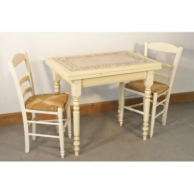 Table PTITE MENESBLES 90X70 4 Chaises VANILLE
